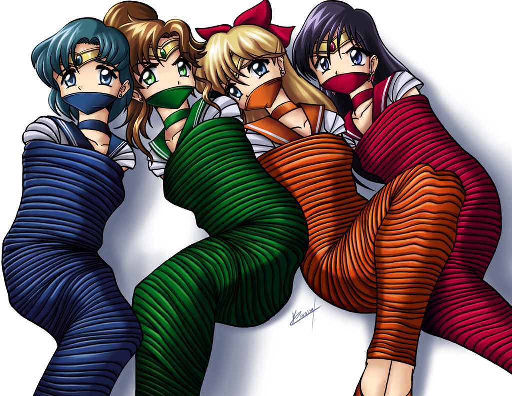 4girls aino_minako artist_request bishoujo_senshi_sailor_moon blonde_hair blue_eyes blue_hair bondage brown_hair choker earrings gag gagged girl green_eyes hino_rei jewelry karosu-maker kino_makoto mizuno_ami moon multiple_girls mummification otm over_the_mouth_gag purple_hair sailor_jupiter sailor_mars sailor_mercury sailor_venus seilor tiara