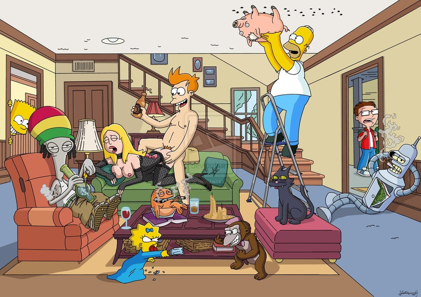 american_dad bart_simpson bender_bending_rodriguez crossover evil_monkey francine_smith fry futurama homer_simpson klaus_heissler maggie_simpson roger_smith snowball spiderpig steve_smith the_simpsons