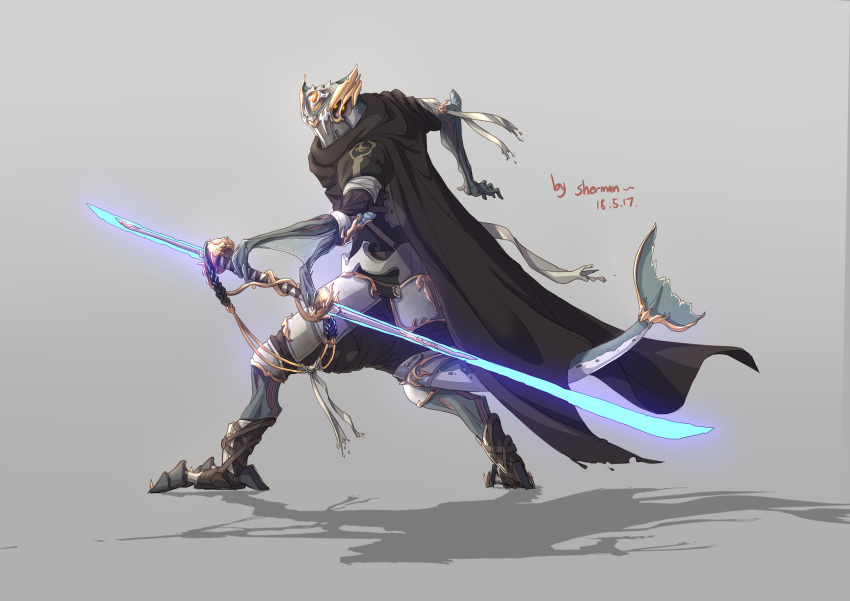 1other absurdres alien armor cape chinese_commentary commentary_request extra_arms extra_eyes fish_tail glowing glowing_weapon highres holding holding_weapon no_humans original sherman_(egnk2525) simple_background solo tail weapon