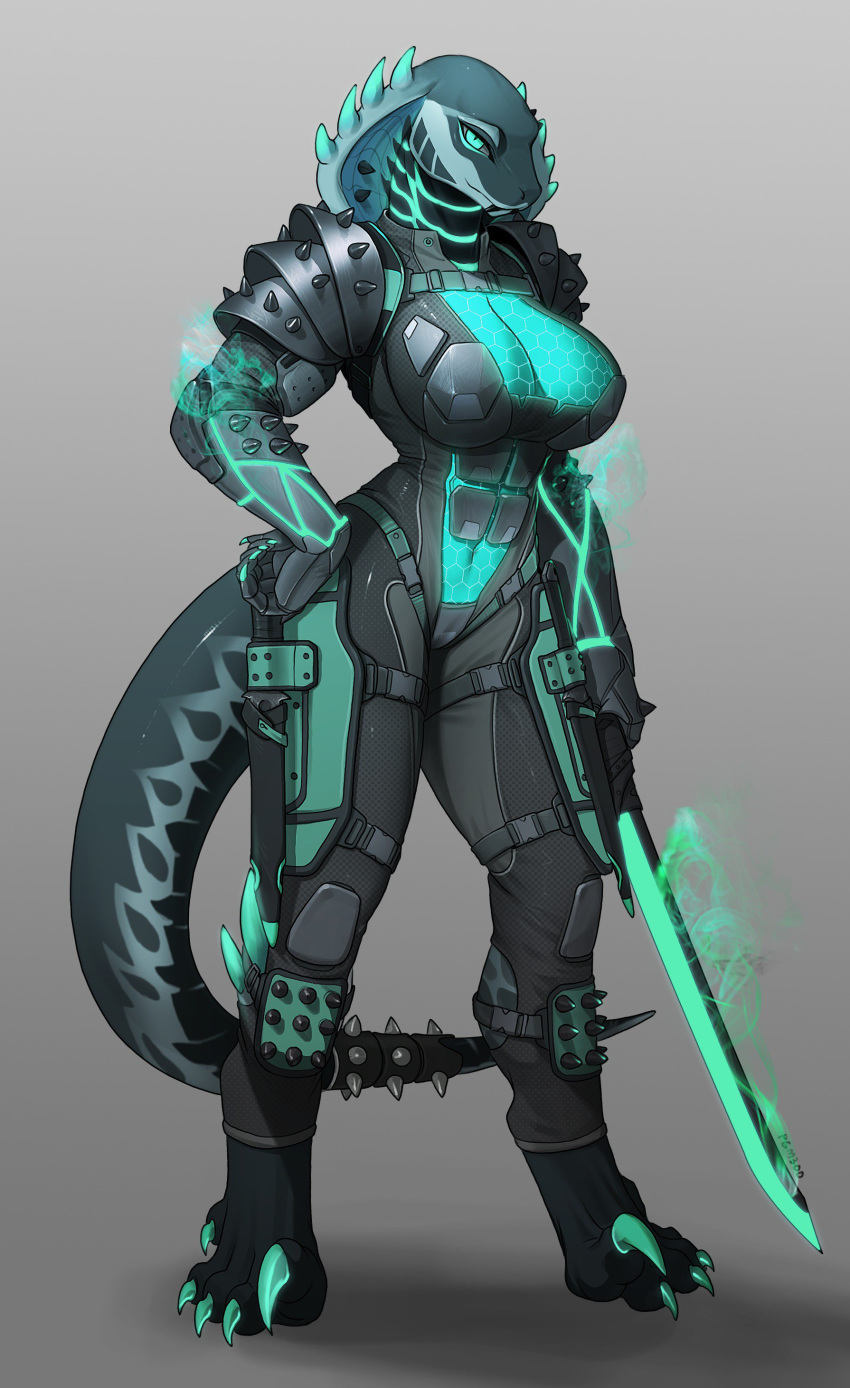 2019 anthro armor big_breasts breasts claws cleavage clothed clothing densantra_(deathhydra) female full-length_portrait full_portrait glowing green_eyes hi_res long_tail looking_at_viewer melee_weapon midriff navel pgm300 portrait reptile scalie schewiener simple_background snake solo spikes standing sword tight_clothing weapon