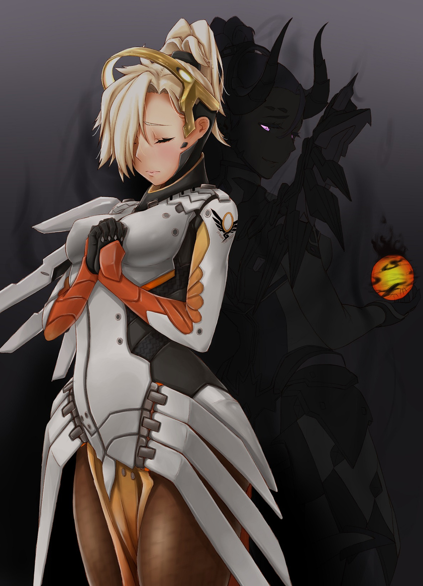 2girls alternate_costume armor back-to-back black_gloves blonde_hair bodysuit breastplate breasts brown_legwear closed_eyes cowboy_shot dark_persona demon_horns devil_mercy emblem energy_ball faulds gloves glowing glowing_eyes hair_ornament hair_over_one_eye hair_tie hands_together headgear highres horns large_breasts lips loincloth long_hair looking_back mechanical_halo mechanical_wings mercy_(overwatch) multiple_girls open_mouth overwatch pantyhose ponytail praying purple_eyes short_hair short_ponytail spread_wings staff wing_print wings