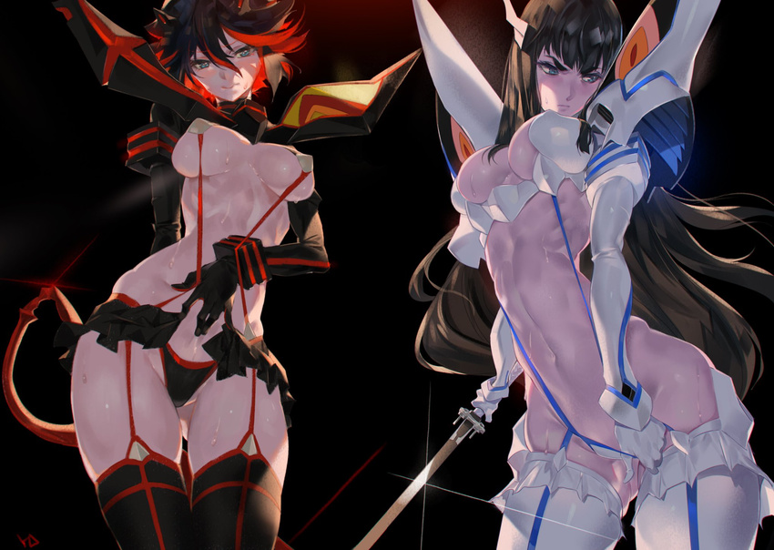 2girls abs adjusting_clothes armor ass_visible_through_thighs black_background black_hair blue_eyes blush breasts embarrassed highres holding holding_weapon junketsu katana kill_la_kill kiryuuin_satsuki large_breasts long_hair looking_to_the_side matoi_ryuuko multiple_girls navel red_hair revealing_clothes scissor_blade senketsu short_hair siblings sisters sweat sword weapon yang-do