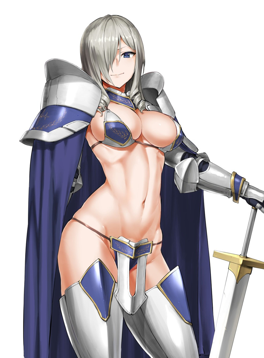1girl armor bikini_armor blue_eyes breasts cape cleavage contrapposto drill_hair gauntlets greaves hair_over_one_eye highres hiiragi_yuuichi large_breasts looking_at_viewer navel original pauldrons silver_hair simple_background smile solo sword thighhighs twin_drills weapon white_background
