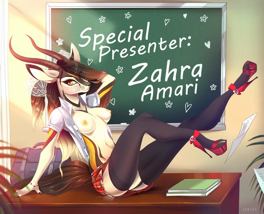 antelope anthro clothing footwear gazelle high_heels horn mammal school_uniform sertaa shoes uniform zahra_(airheart)