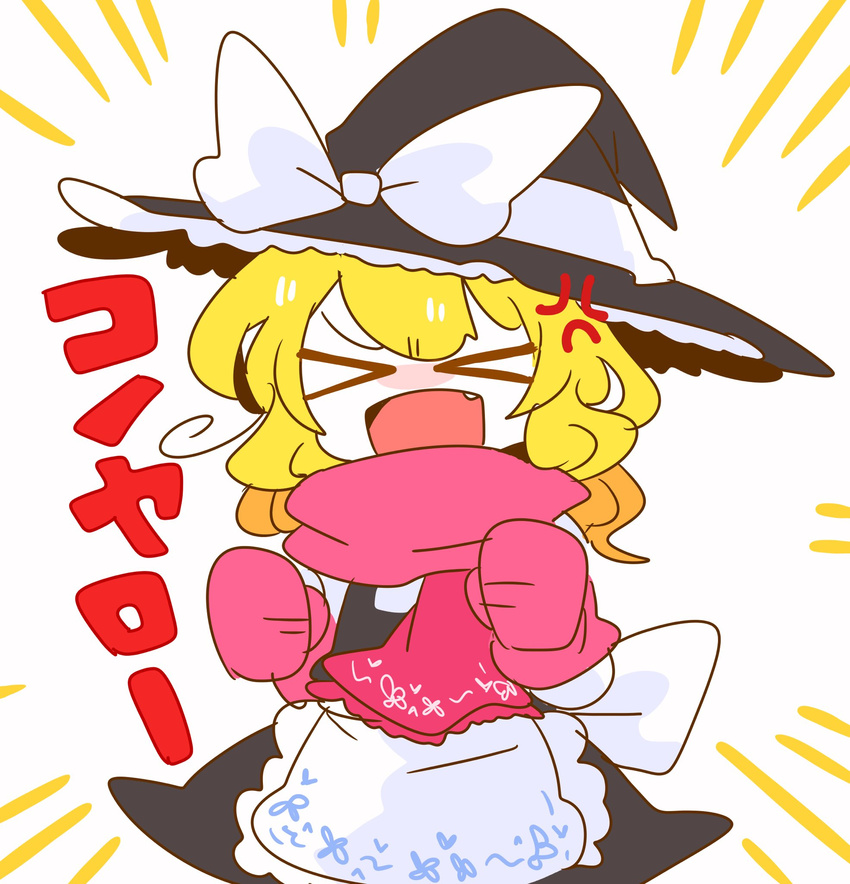 >_< 1girl anger_vein angry apron blonde_hair blush chibi clenched_hands commentary dx eyes_closed fang hat hidden_star_in_four_seasons highres kirisame_marisa mittens op_na_yarou scarf short_hair solo touhou translated waist_apron witch_hat