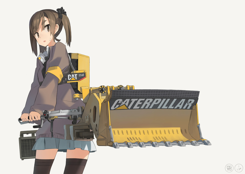 1girl :o armlet astg black_legwear blue_skirt brown_eyes brown_hair caterpillar_(company) cowboy_shot highres long_sleeves looking_to_the_side machine machinery mecha_musume open_mouth original personification pleated_skirt puffy_long_sleeves puffy_sleeves simple_background skirt solo standing sweatdrop thighhighs twintails zettai_ryouiki
