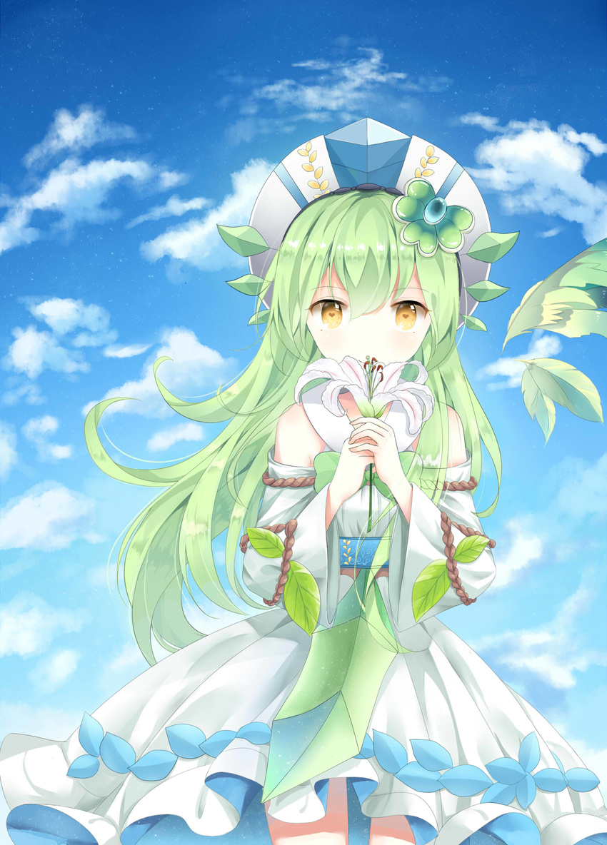 1girl absurdres bare_shoulders eyebrows_visible_through_hair flower green_hair heart heart-shaped_pupils highres holding holding_flower long_hair looking_at_viewer original solo symbol-shaped_pupils yellow_eyes yue_yue
