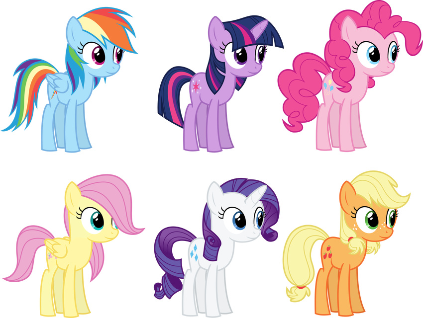 2017 applejack_(mlp) blonde_hair blue_eyes blue_feathers cutie_mark earth_pony equine eyeshadow feathered_wings feathers female feral fluttershy_(mlp) friendship_is_magic fur green_eyes group hair hi_res horn horse long_hair magister39 makeup mammal multicolored_hair my_little_pony pegasus pink_hair pinkie_pie_(mlp) pony pose purple_eyes purple_hair rainbow_dash_(mlp) rainbow_hair rarity_(mlp) red_hair smile teenager the_mane_six twilight_sparkle_(mlp) two_tone_hair unicorn wings young