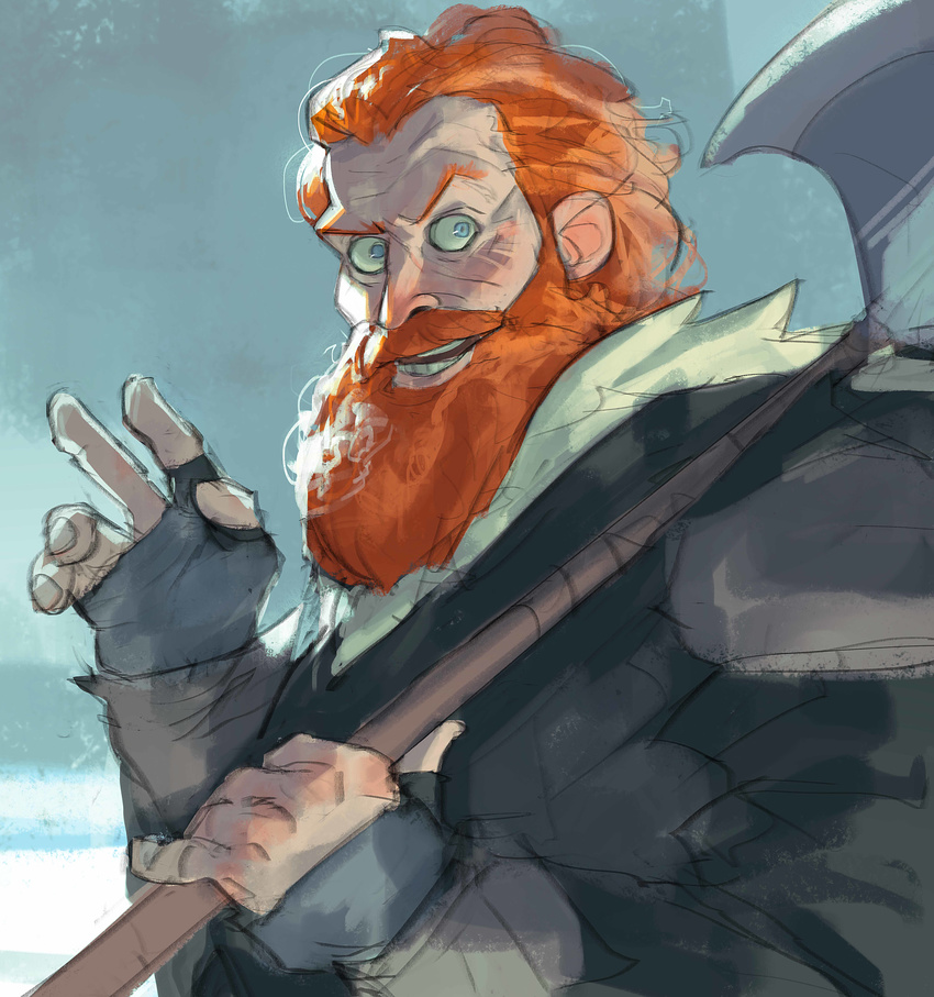 a_song_of_ice_and_fire absurdres axe beard blue_eyes facial_hair game_of_thrones highres ramonn90 red_hair tormund weapon