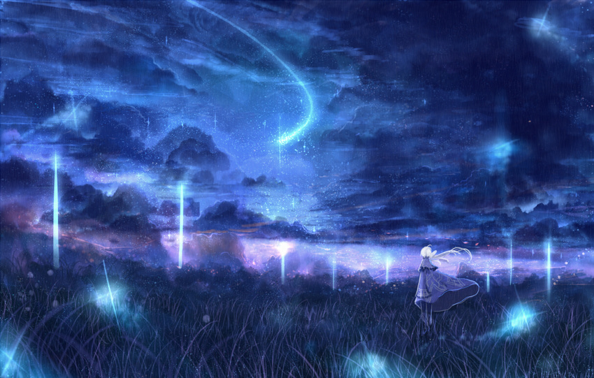 1girl blue_sky cloud cloudy_sky column commentary_request fantasy grass light long_hair night original pillar ponytail sakimori_(hououbds) scenery sky solo white_hair