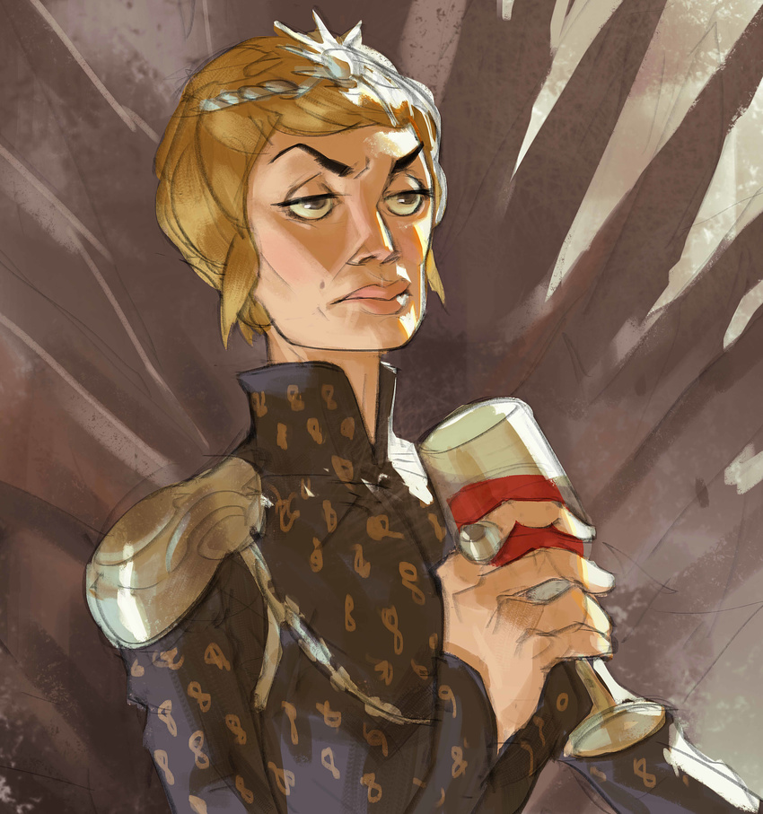 a_song_of_ice_and_fire absurdres armor blonde_hair brown_eyes cersei_lannister crown cup drinking_glass game_of_thrones highres iron_throne jewelry mole_above_mouth ramonn90 ring short_hair shoulder_armor wine_glass