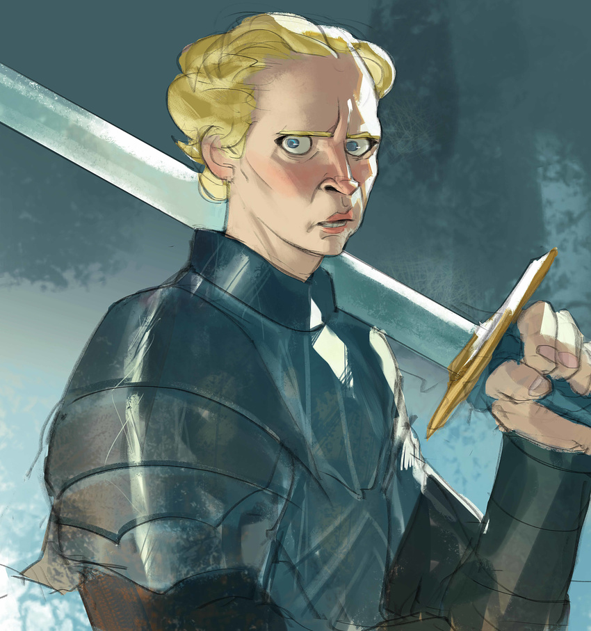 a_song_of_ice_and_fire absurdres armor blonde_hair blue_eyes brienne_of_tarth game_of_thrones highres ramonn90 short_hair sword weapon