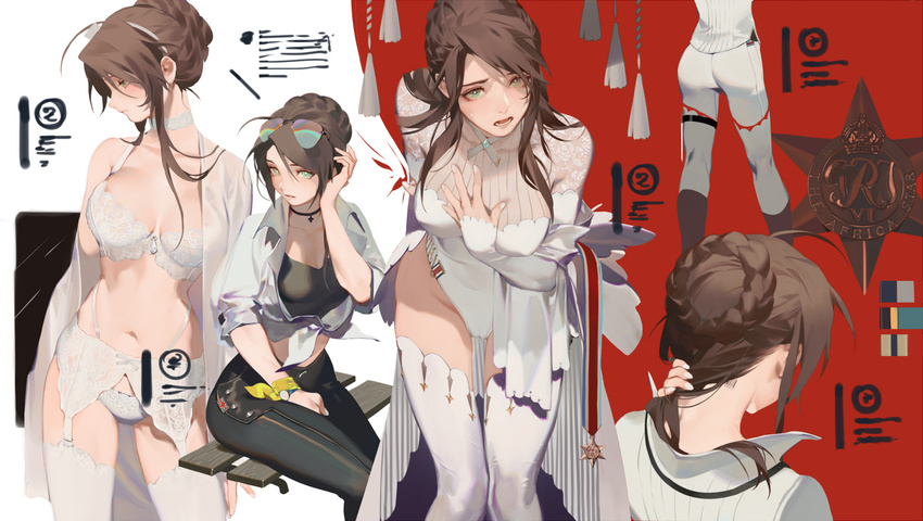 1girl ass badge barcode_tattoo blush bra braid brown_hair cameltoe character_sheet color_guide erect_nipples french_braid garter_belt garter_straps girls_frontline green_hair jacket jewelry leather leather_pants lee-enfield_(girls_frontline) leotard neck_ring panties pants rei_(sanbonzakura) robe sunglasses sweat tank_top tattoo underwear union_jack white_bra white_legwear white_panties