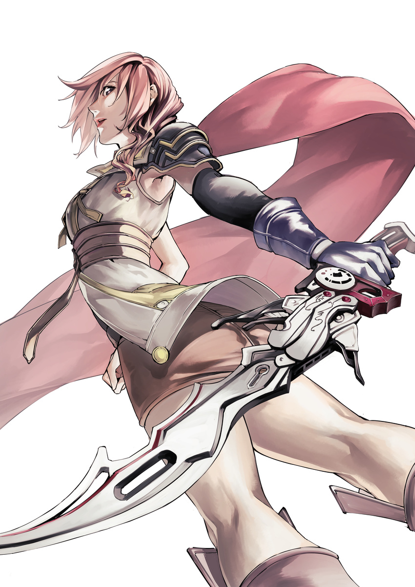 1girl absurdres asymmetrical_hair cape elbow_gloves final_fantasy final_fantasy_xiii gloves gunblade highres lightning_farron looking_at_viewer open_mouth pink_hair shoulder_pads simple_background single_glove snowcat. solo sword weapon white_background