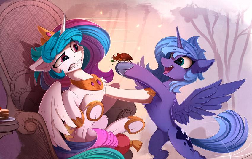 2017 arthropod beetle blue_eyes blush cake chair clenched_teeth collar cutie_mark duo equine feathered_wings feathers female feral food friendship_is_magic fur hair hi_res holding_object horn insect long_hair mammal multicolored_hair my_little_pony open_mouth open_smile princess_celestia_(mlp) princess_luna_(mlp) purple_eyes sitting smile teeth underhoof winged_unicorn wings yakovlev-vad