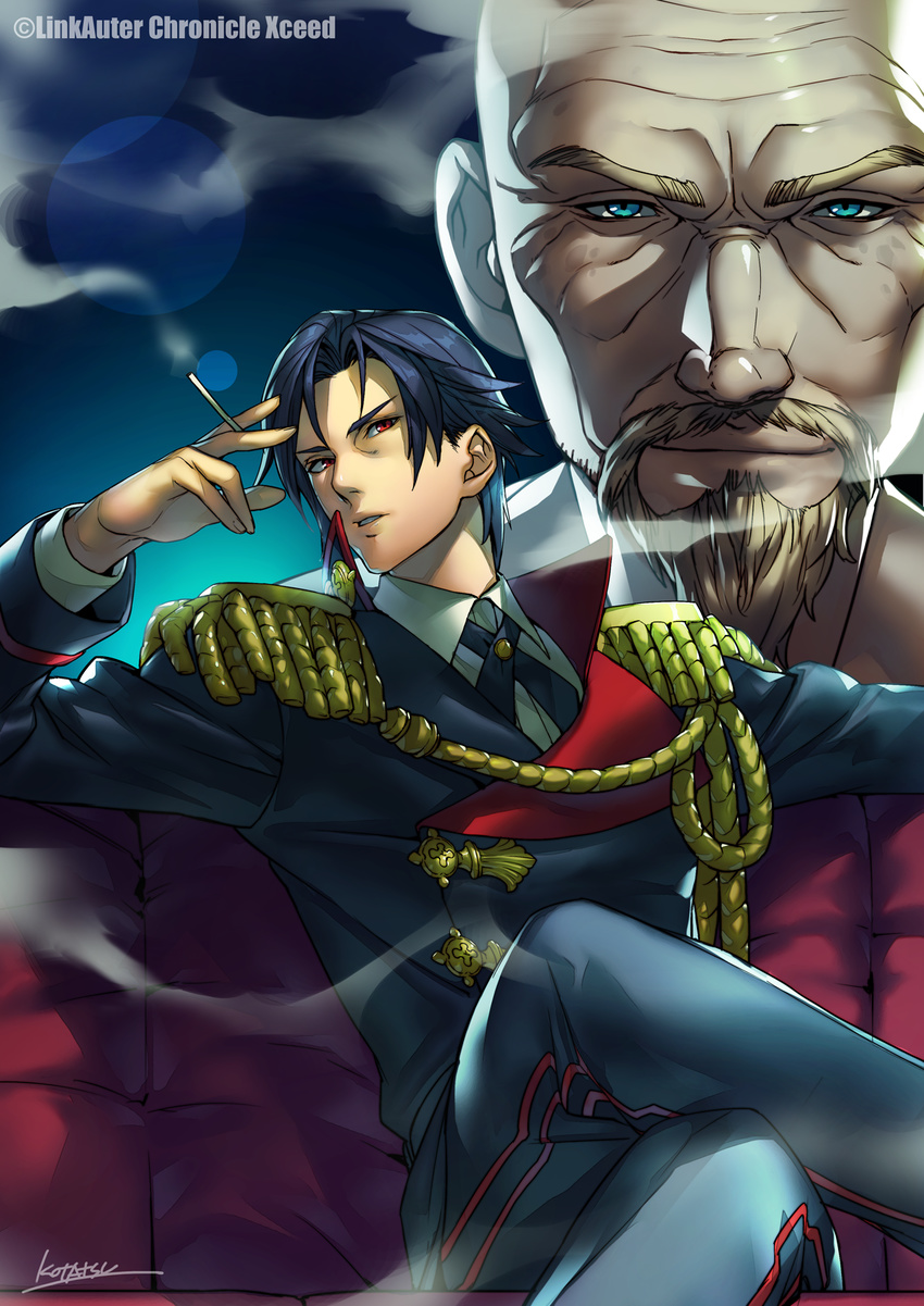 1boy 2boys bald blue_eyes blue_hair blue_jacket blue_pants cigarette closed_mouth collared_shirt couch facial_hair hand_up highres holding holding_cigarette jacket kotatsu_(g-rough) legs_crossed linkauter_chronicle_xceed long_sleeves looking_at_viewer military military_uniform multiple_boys mustache official_art pants parted_lips projected_inset red_eyes shirt signature sitting smile smoke smoking uniform white_shirt