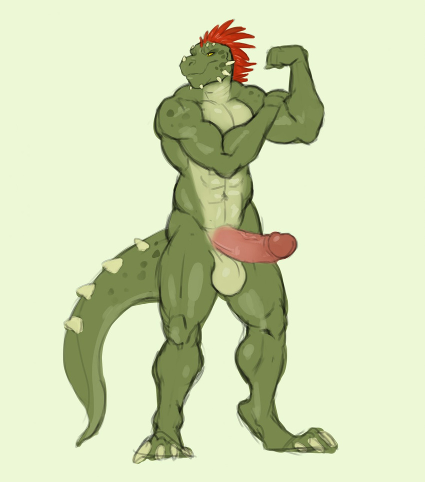 anthro argonian balls biceps big_balls big_penis erection feathers flexing green_scales greyfuzzbutt male muscular muscular_male penis pose presenting red_feathers scales scalie simple_background sketch solo standing the_elder_scrolls video_games white_background