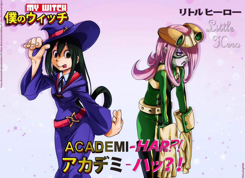 2girls asui_tsuyu boku_no_hero_academia commentary copyright_name cosplay costume_switch gloves green_eyes green_hair hat highres little_witch_academia melisaongmiqin multiple_girls pink_hair red_eyes sucy_manbavaran title_parody tongue tongue_out witch_hat