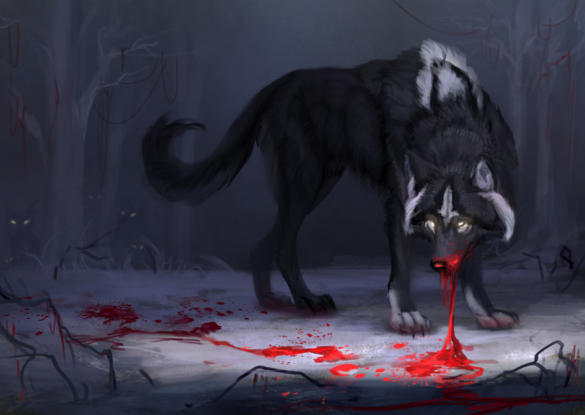 2017 black_fur blood canine detailed_background digital_media_(artwork) feral fur glowing glowing_eyes jademere mammal paws solo standing wolf