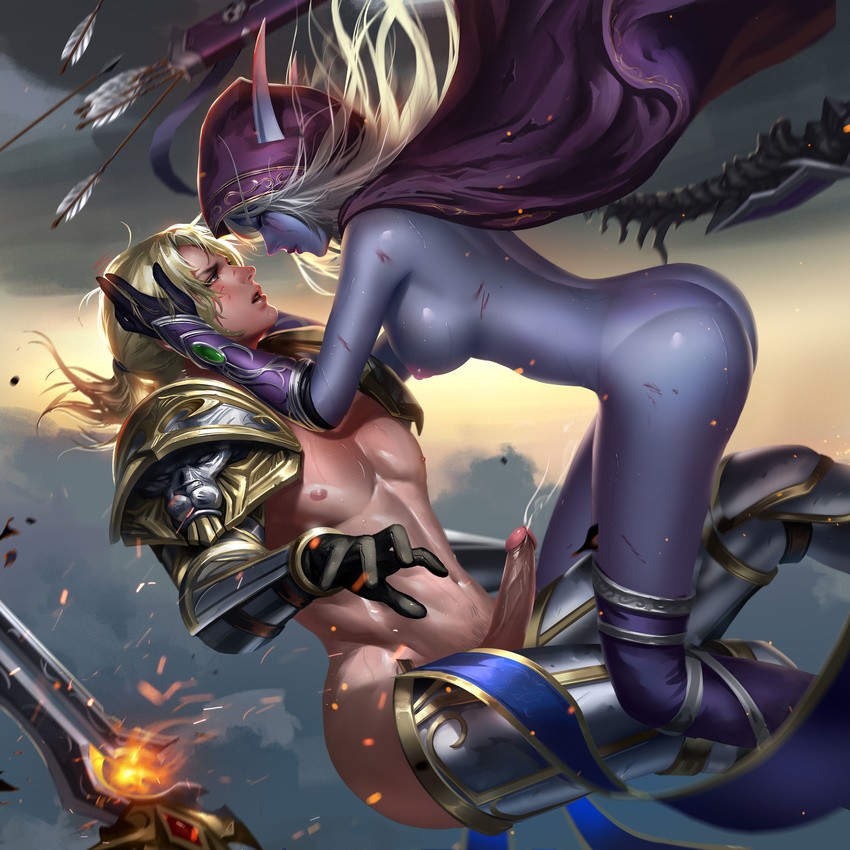 1boy 1girl adapted_costume anduin_wrynn areolae armor arrow ass bikini_armor blonde_hair blood blue_ribbon boots bow_(weapon) breasts cape closed_mouth ejaculation english eyes_closed facial_mark feather_trim gloves glowing hairband highres holding_head hood liang_xing long_eyebrows long_hair looking_at_another md5_mismatch midair nipples panties parted_lips penis pointy_ears purple_panties quiver ribbon shoulder_pads side_boob smoke sword sylvanas_windrunner thigh_boots thighhighs uncensored undead underwear warcraft watermark weapon web_address world_of_warcraft