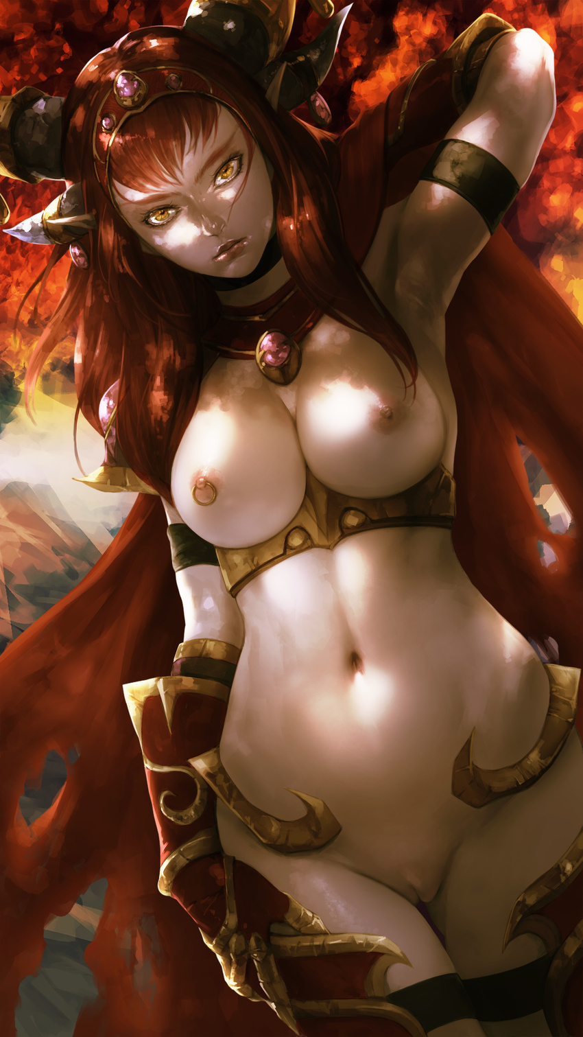 1girl alexstrasza areolae armor artist_request breasts cape choker gloves hairband hand_behind_head heroes_of_the_storm horns looking_at_viewer navel necklace nipple_piercing nipples pale_skin pointy_ears pussy red_hair solo torn_cape uncensored world_of_warcraft yellow_eyes