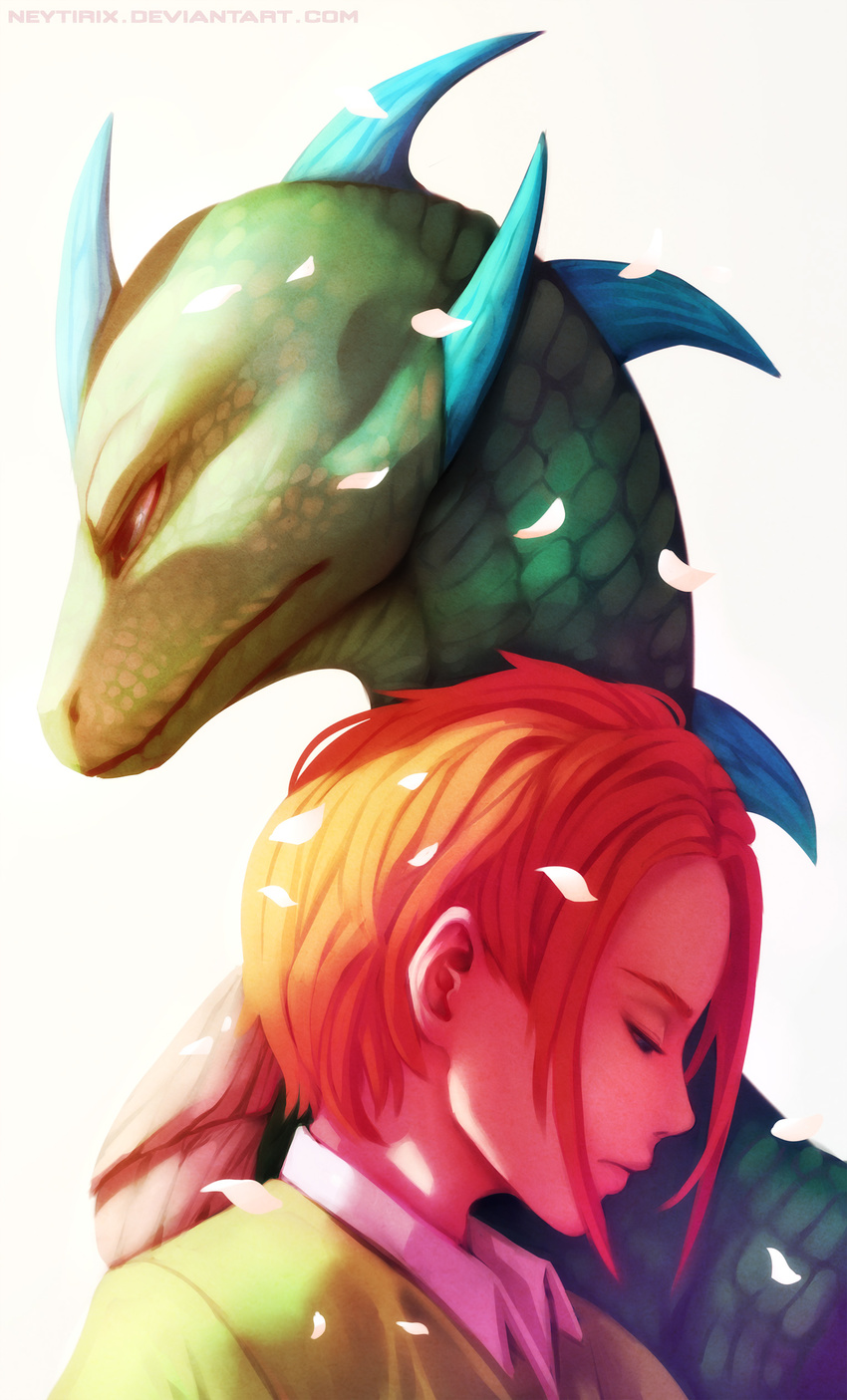 2017 digital_media_(artwork) duo green_scales hair human lizard mammal neytirix red_hair reptile scales scalie simple_background spines white_background