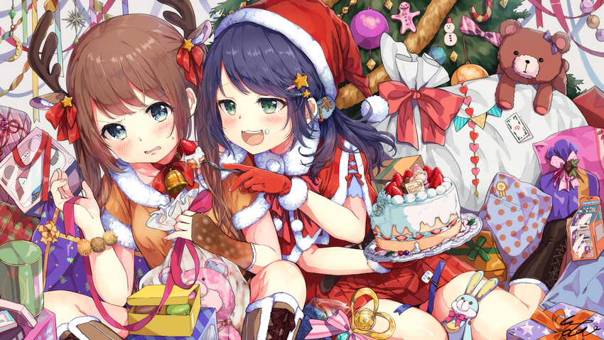 2girls bell blue_hair blush boots brown_hair cake christmas food fruit gloves green_eyes hat horns long_hair original pomu ribbons santa_costume santa_hat skirt strawberry teddy_bear twintails