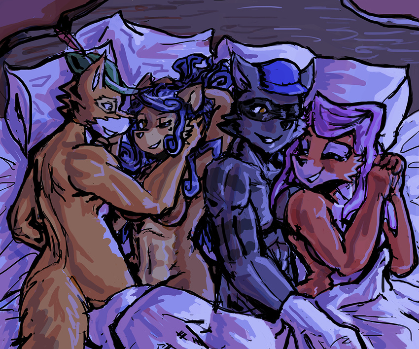 2017 anthro bed blue_hair breasts bycocket canine carmelita_fox crossover disney female foursome fox fur group group_sex hair hat maid_marian male male/female mammal manpersonguy moonlight mrease night nude partner_swap procyonid raccoon robin_hood robin_hood_(disney) sex sly_cooper sly_cooper_(series) smile video_games