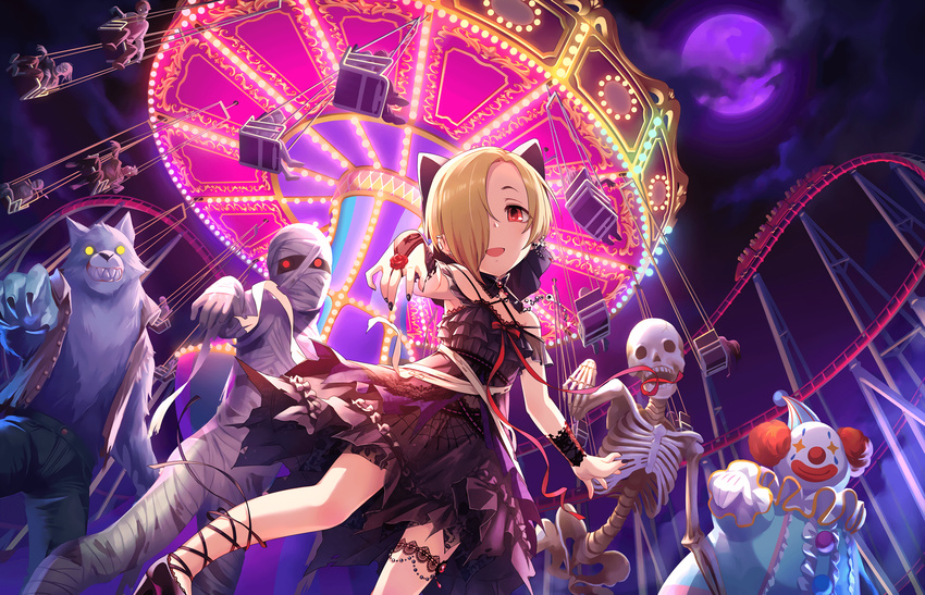 1girl amusement_park artist_request black_nails blonde_hair bow clown dress ear_piercing earrings hair_over_one_eye highres idolmaster idolmaster_cinderella_girls idolmaster_cinderella_girls_starlight_stage jewelry looking_at_viewer mummy nail_polish night night_sky official_art open_mouth piercing red_eyes ribbon roller_coaster shirasaka_koume short_hair skeleton sky smile werewolf