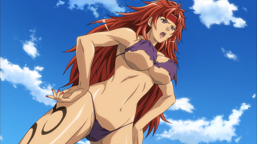 1girl bikini breasts damaged_clothes groin large_breasts nail_polish navel open_mouth purple_bikini purple_eyes queen's_blade red_hair risty sky solo swimwear