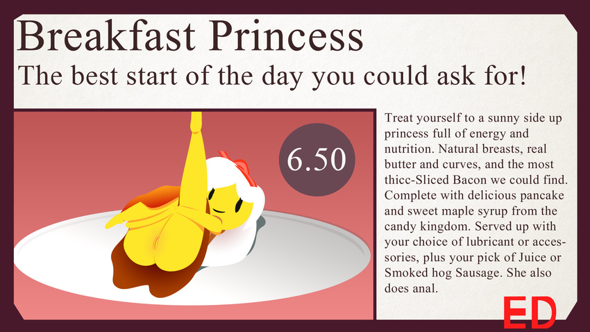 adventure_time animate_inanimate bacon breakfast_princess butt cartoon_network ed_(artist) egg english_text female food menu pussy text yellow_skin