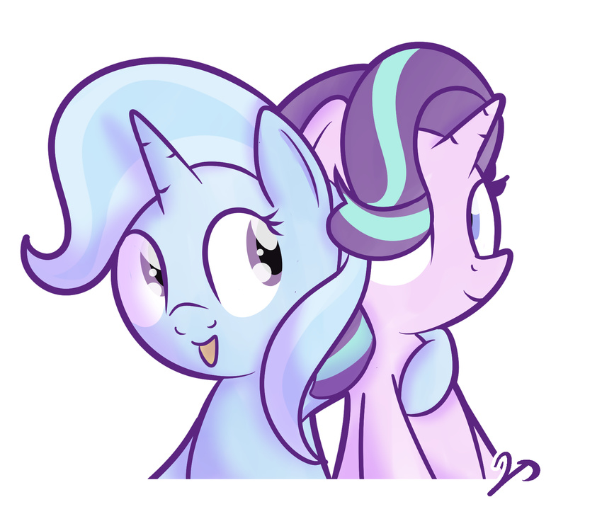 2017 alpha_channel blue_hair bust_portrait cute duo equine eyelashes female friendship_is_magic hair horn hug mammal multicolored_hair my_little_pony open_mouth open_smile portrait purple_eyes simple_background smile starlight_glimmer_(mlp) transparent_background trixie_(mlp) two_tone_hair unicorn vaetan