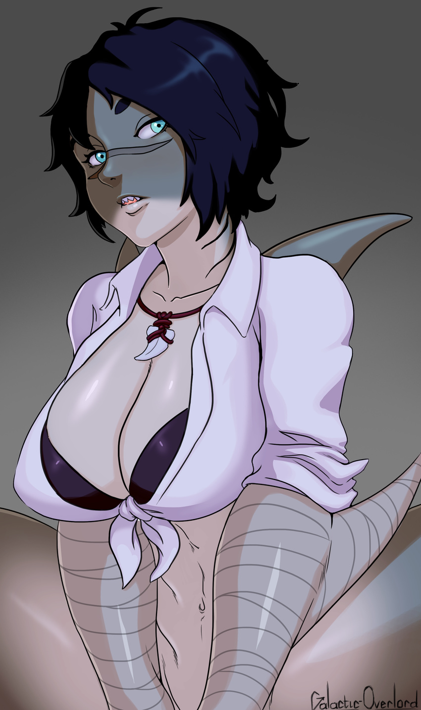big_breasts bikini bikini_top black_hair blue_eyes bottomless breasts clothed clothing female fish front-tie_top galactic_overlord gills grey_skin hair hand_wraps humanoid jewelry looking_at_viewer marine necklace out-of-frame_censoring scar shark sharp_teeth short_hair sitting solo swimsuit teeth wraps zhaleh