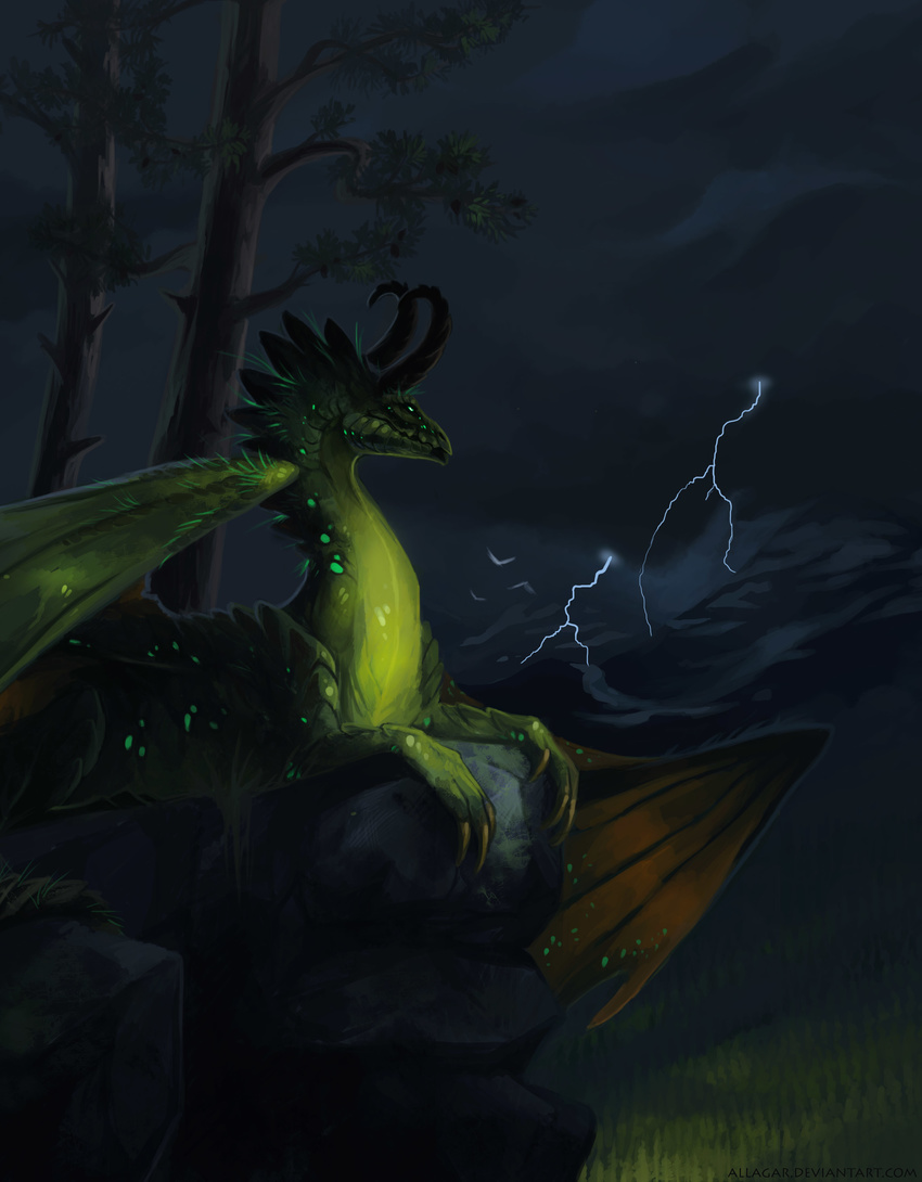 allagar ambient_bird ambiguous_gender avian bird claws cloud countershading detailed_background feral forest glowing glowing_eyes green_eyes green_scales hi_res horn lightning membranous_wings mountain nature outside portrait scales sky solo spread_wings storm tree wings yellow_countershading