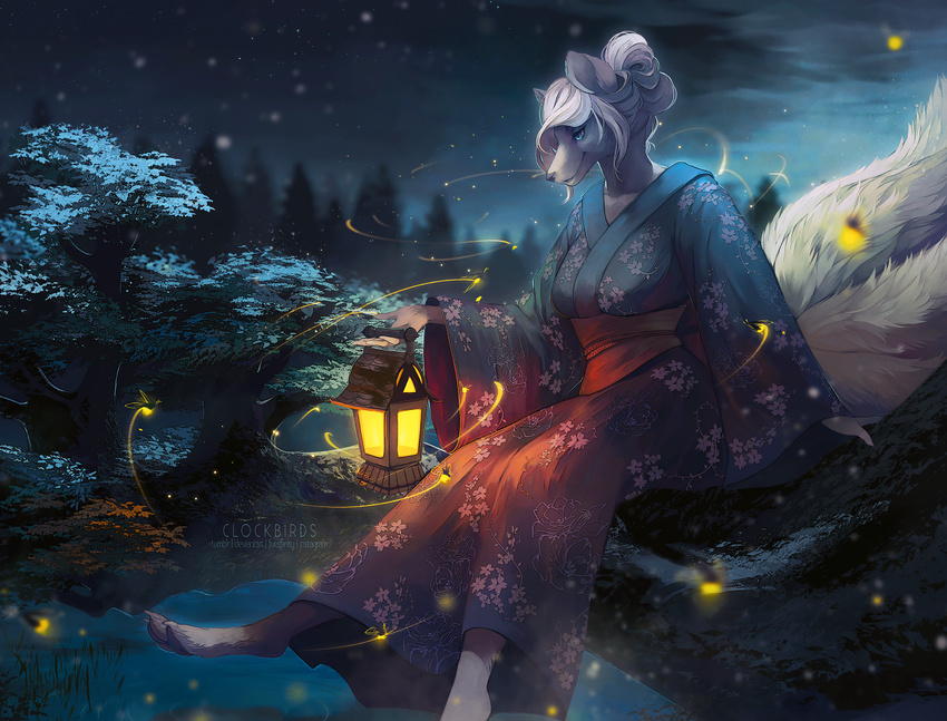 anthro blue_eyes branch breasts canine claws clockbirds clothed clothing cloud detailed_background female firefly fluffy fluffy_tail forest fox fully_clothed fur grey_fur hair hair_bun holding_object humanoid_hands japanese_clothing kimono lantern mammal markings multi_tail nature night on_branch outside pawpads pine_tree pond sitting sky smile socks_(marking) solo star toe_claws tree white_fur white_hair white_marking