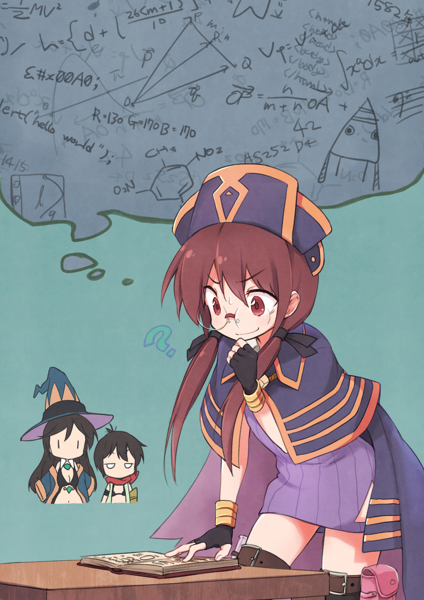 3girls ? a_channel black_gloves black_hair black_ribbon blush book boots breasts brown_eyes brown_footwear brown_hair chibi_inset cleavage closed_mouth equation eyebrows_visible_through_hair fingerless_gloves glasses gloves hair_ribbon hat highres ichii_tooru kirara_fantasia looking_at_another looking_away medium_breasts multiple_girls nishi_yuuko okayparium open_book ribbon short_hair smile sweatdrop tennouji_nagisa thigh_boots thighhighs thought_bubble twintails witch_hat