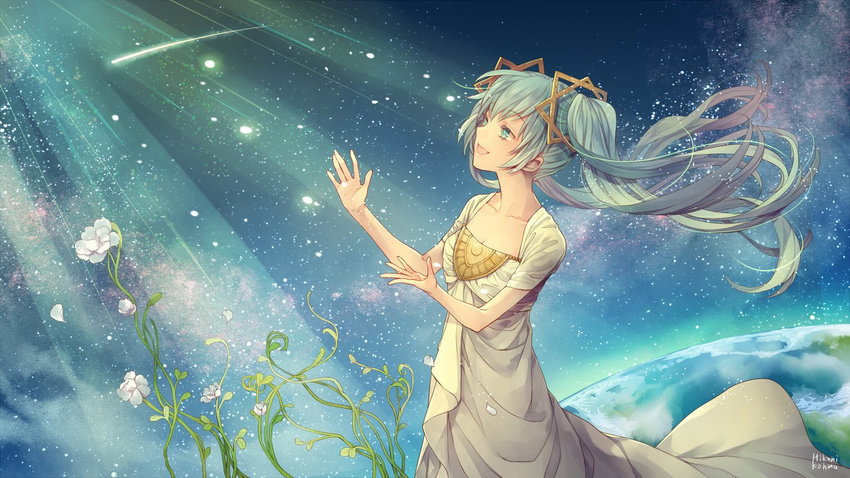 1girl alternative aqua_hair breasts cleavage dress earth female flower galaxy green_eyes green_hair happy hatsune_miku highres long_hair looking_up mikuni_(mikunik) mikuni_(pixiv2629209) mikuni_kouma open_mouth planet short_sleeves sky smile solo space star_(sky) stars sunbeam sunlight twintails vocaloid white_dress white_flower white_outfit
