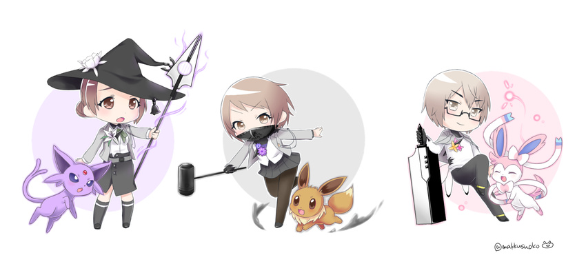 1boy 2girls brown_eyes brown_hair caligula_(game) commentary_request do_m_kaeru eevee espeon face_mask flower hammer hat hibiki_kensuke highres kagura_suzuna mask multiple_girls pokemon polearm school_uniform shinohara_mifue skirt spear sword sylveon weapon witch_hat