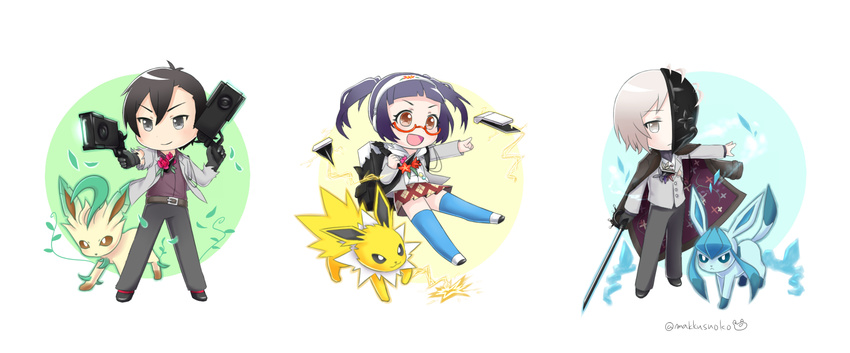 1girl 2boys black_hair brown_hair caligula_(game) cape commentary_request do_m_kaeru dual_wielding flower glaceon gun half_mask highres jolteon leaf leafeon mask minesawa_izuru morita_naruko multiple_boys pokemon protagonist_(caligula) school_uniform semi-rimless_eyewear skirt sword under-rim_eyewear weapon