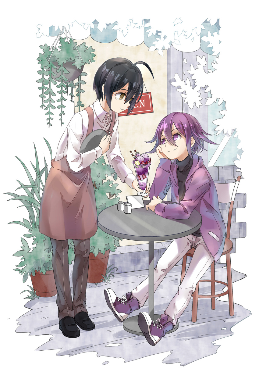 2boys absurdres ahoge alternate_costume black_footwear black_hair black_shirt brown_apron brown_eyes brown_pants building chair cinnamon_stick closed_mouth collared_shirt danganronpa flower_pot food fruit full_body hair_between_eyes hand_on_own_cheek highres holding holding_tray ice_cream jacket long_sleeves looking_up male_focus multiple_boys new_danganronpa_v3 open_clothes open_jacket ouma_kokichi outdoors pants plant potted_plant purple_eyes purple_footwear purple_hair purple_jacket saihara_shuuichi shiny shiny_hair shiro_q~ shirt shoes sign sitting smile standing storefront strawberry table tray waiter white_pants white_shirt wing_collar
