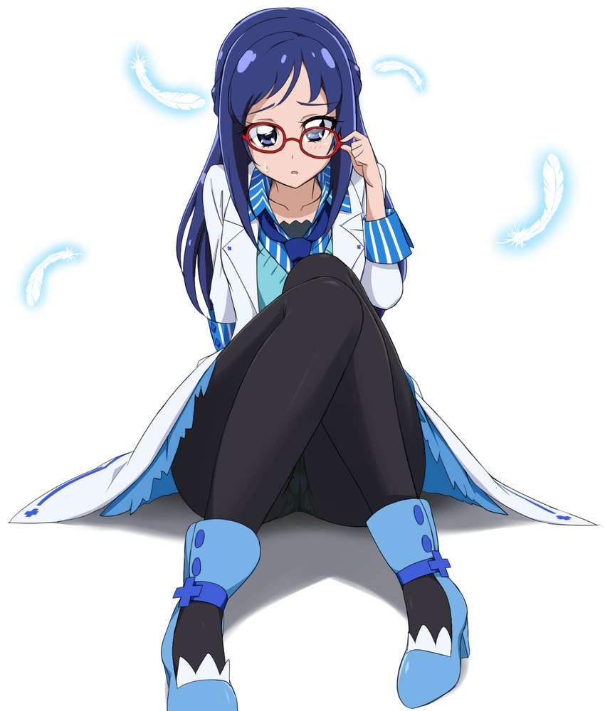 1girl acchi_(koiyimknp) adjusting_eyewear aqua_panties bespectacled blue_eyes blue_footwear blue_hair blue_neckwear blue_skirt braid collarbone dokidoki!_precure feathers french_braid full_body glasses glowing highres hishikawa_rikka jacket knees_up long_sleeves looking_at_viewer necktie open_clothes open_jacket panties panties_under_pantyhose pantyhose pantyshot pantyshot_(sitting) precure raised_eyebrows red-framed_eyewear school_uniform simple_background sitting skirt sleeve_cuffs solo underwear white_background white_jacket