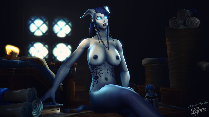 3d_(artwork) areola armor blue_hair blue_skin book breasts butt candle digital_media_(artwork) draenei female hair helmet hi_res horn humanoid looking_at_viewer lupar mammal masturbation nipples not_furry nude scroll smile solo source_filmmaker video_games warcraft window