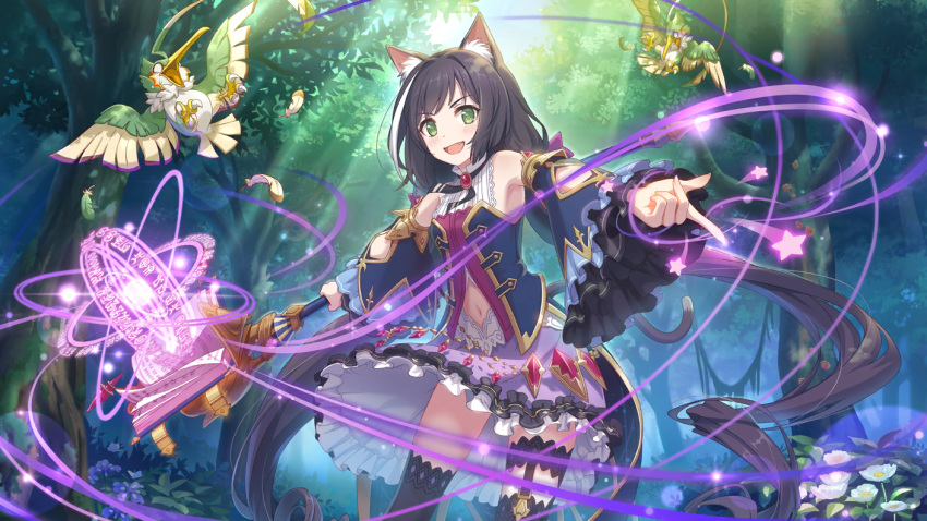 1girl animal_ears bare_shoulders bird black_hair cat_ears cat_tail cygames forest green_eyes highlights kneehighs kyaru_(princess_connect) multicolored_hair nature navel official_art princess_connect! staff tail