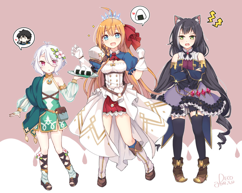 1boy 3girls ahoge animal_ears black_hair blonde_hair blue_eyes breasts cat_ears cleavage flat_chest flower food frilled_skirt frills full_body green_eyes hair_flower hair_ornament highlights highres kokkoro_(princess_connect!) kyaru_(princess_connect) long_hair looking_at_viewer medium_breasts misoradeko multicolored_hair multiple_girls onigiri open_mouth pecorine pink_eyes pointy_ears princess_connect! princess_connect!_re:dive short_hair skirt smile sparkle standing thighhighs tiara very_long_hair white_hair yuuki_(princess_connect)