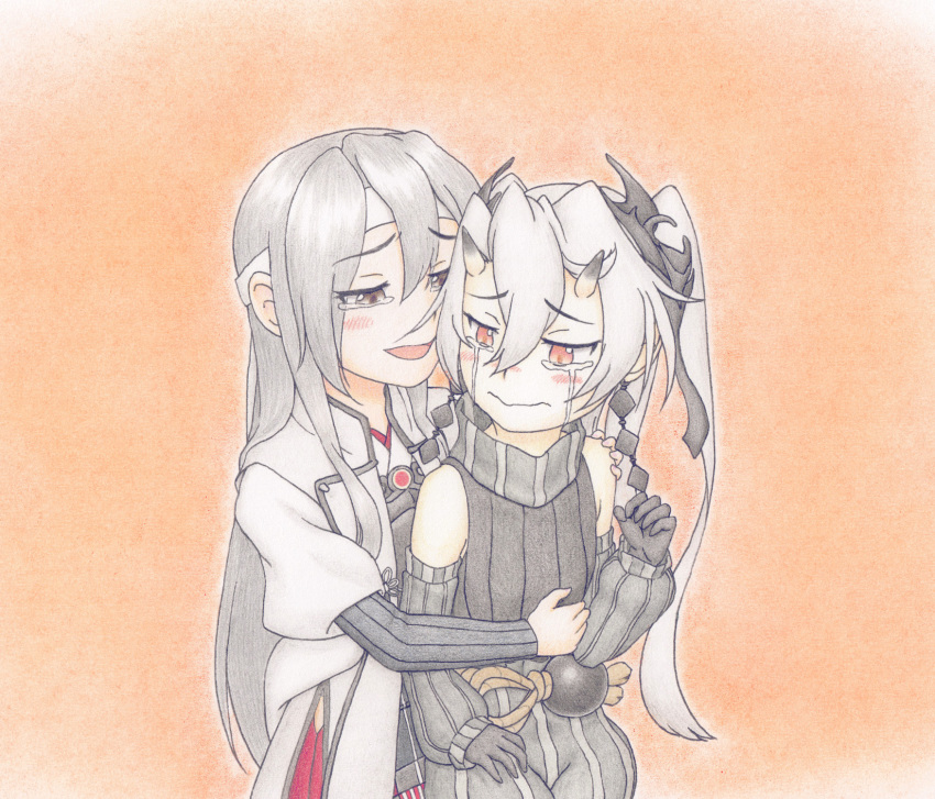 2girls abyssal_crane_hime artist_request colored_pencil_(medium) detached_sleeves green_eyes green_hair hair_between_eyes headband highres horns hug hug_from_behind japanese_clothes kantai_collection long_hair multiple_girls muneate red_eyes remodel_(kantai_collection) shinkaisei-kan simple_background tears traditional_media white_hair white_skin zuikaku_(kantai_collection)