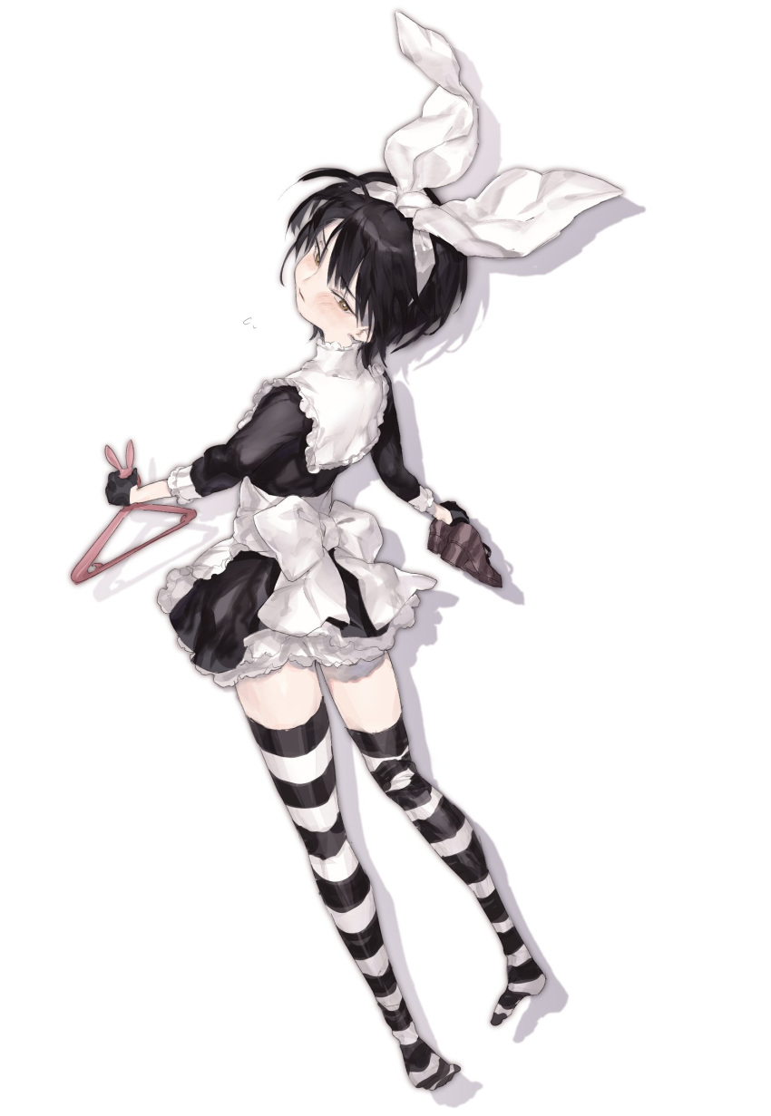 1girl apron asymmetrical_legwear bangs black_dress black_gloves black_hair blush bow bright_pupils brown_eyes capelet clothes_hanger dress eyebrows eyebrows_visible_through_hair frilled_apron frilled_capelet frills full_body gloves hair_between_eyes hair_ribbon hairband head_tilt highres holding holding_shoes horizontal-striped_legwear horizontal_stripes long_sleeves maid maid_apron original ozyako pale_skin ribbon shaft_look shoes short_dress short_hair silhouette simple_background solo striped thighhighs turtleneck waist_apron white_apron white_background white_bow white_capelet white_hairband white_pupils white_ribbon zettai_ryouiki