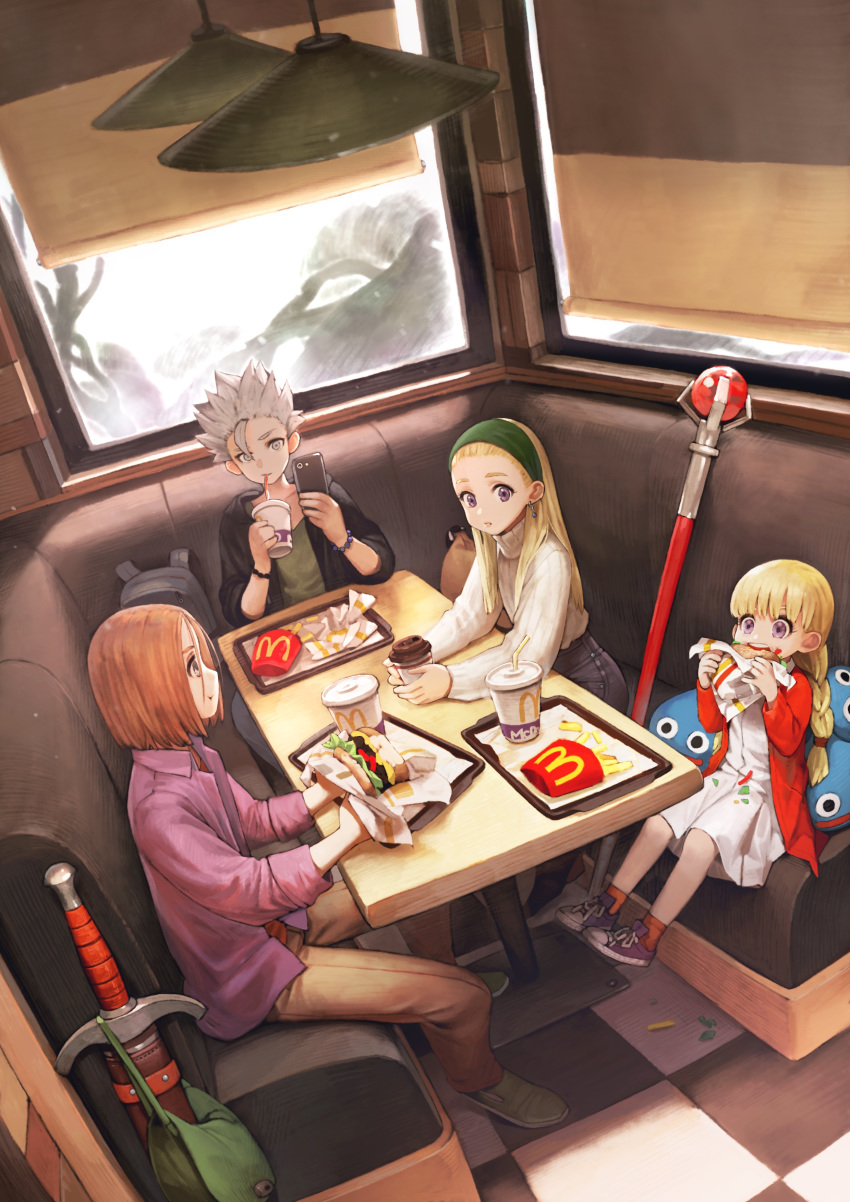 2boys 2girls blonde_hair camus_(dq11) casual cellphone child coffee cup dragon_quest dragon_quest_xi dress eating fast_food food french_fries hairband hamburger hero_(dq11) jun_(seojh1029) long_hair mcdonald's multiple_boys multiple_girls senya_(dq11) silver_hair sitting sword veronica_(dq11) weapon