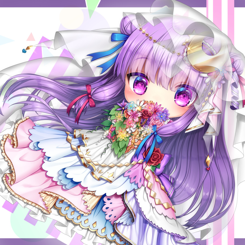 bangs blue_dress blue_ribbon blunt_bangs blush bouquet chibi covered_mouth crescent crescent_hair_ornament crescent_moon_pin double_bun dress eyebrows_visible_through_hair flower full_body hair_ornament hair_ribbon heart highres layered_dress letterboxed looking_at_viewer multicolored multicolored_clothes multicolored_dress patchouli_knowledge pink_dress pink_flower purple_eyes purple_flower purple_hair purple_ribbon red_flower red_ribbon ribbon sea_scorpion_(umisasori) see-through shiny shiny_hair solo star touhou veil wedding_dress white_background white_dress white_flower