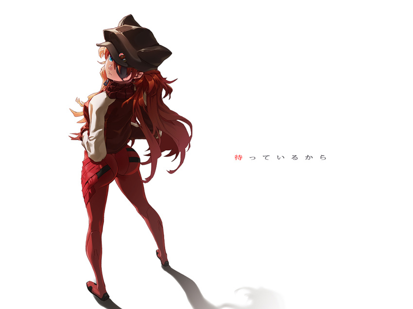 1girl animal_hat ass blue_eyes bodysuit cat_hat closed_mouth commentary_request evangelion:_3.0_you_can_(not)_redo eyepatch hands_in_pockets hat jacket long_hair looking_at_viewer looking_back neon_genesis_evangelion orange_hair plugsuit rebuild_of_evangelion red_bodysuit shadow solo soryu_asuka_langley standing track_jacket winddale