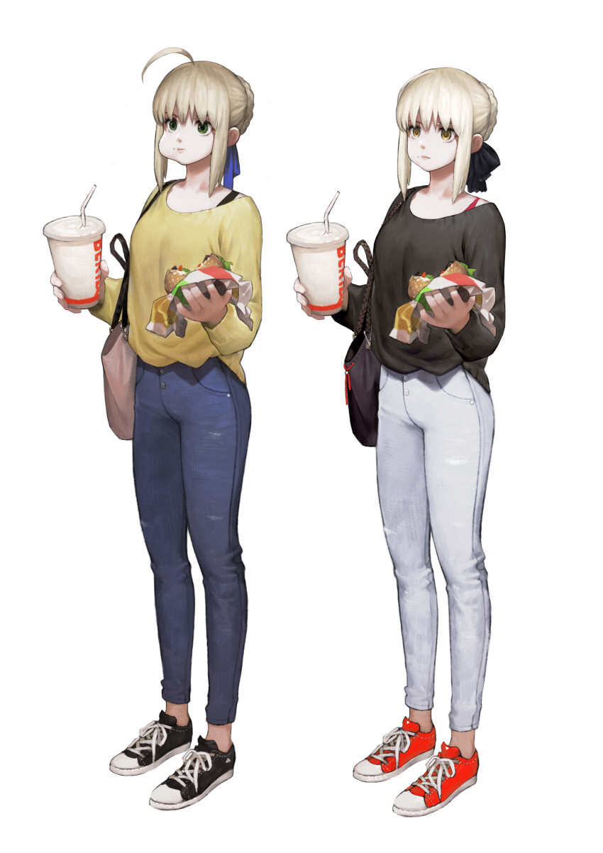 1girl ahoge arms_up artoria_pendragon_(all) bag bangs black_footwear blonde_hair blue_pants blue_ribbon casual cheek_bulge chewing closed_mouth converse denim drinking_cup drinking_straw fate/stay_night fate_(series) food full_body green_eyes hair_bun hair_ribbon hamburger handbag highres holding holding_food jeans jun_(seojh1029) long_sleeves pants ribbon saber shirt shoes simple_background sneakers solo standing white_background wrapper yellow_shirt